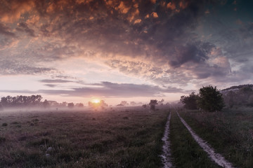 Foto op Canvas Donkergrijs Spring landscape with majestic sunrise