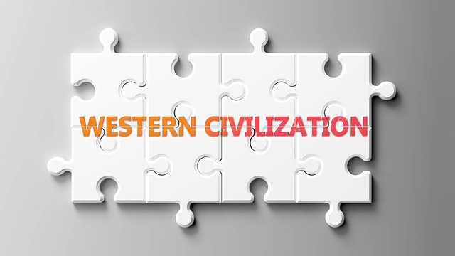 Western civilization complex like a puzzle - pictured as word Western civilization on a puzzle to show that it can be difficult and needs cooperating pieces that fit together, 3d illustration