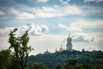 Golden domes of the Bell Tower of the Far Caves in the Kiev Pechersk Lavra of the Orthodox Church