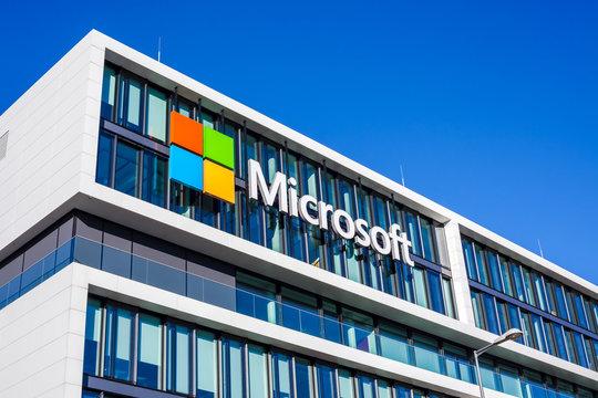 Microsoft logo at office building, Munich Germany