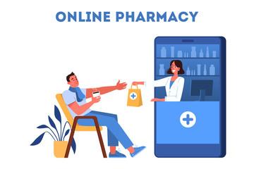 Vector illustration of online pharmacy store. Medicines online