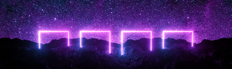 Futuristic retro square neon light glowing on rocky ground, large banner, 3d render, space starfield background, purple color.