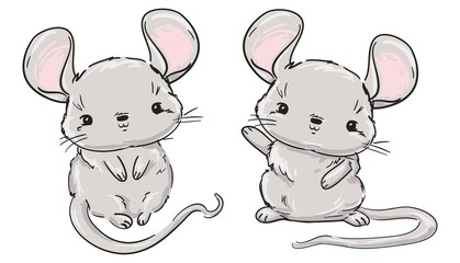 Fotoväggar - Hand drawn cute Mouse set, cartoon character childish illustration. Rat Sketch. Vector. Symbol 2020 new year chinese calendar.