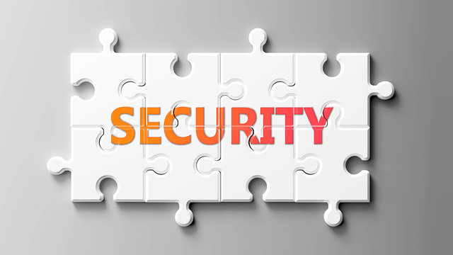 Security complex like a puzzle - pictured as word Security on a puzzle pieces to show that Security can be difficult and needs cooperating pieces that fit together, 3d illustration