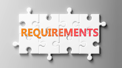 Requirements complex like a puzzle - pictured as word Requirements on a puzzle pieces to show that Requirements can be difficult and needs cooperating pieces that fit together, 3d illustration