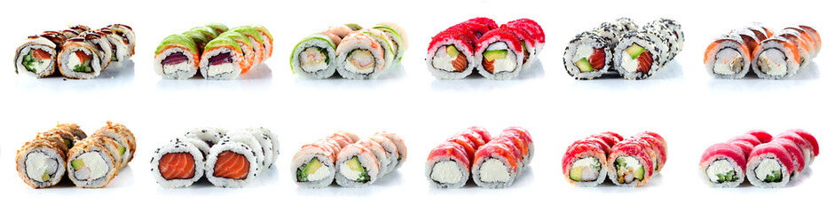 Photo sur Aluminium Sushi bar Sushi Rolls Set, maki, philadelphia and california rolls, on a white background.
