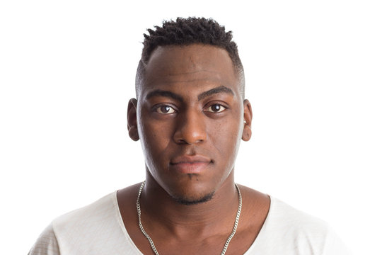 african american man looking confident at camera. Standing against white background.
