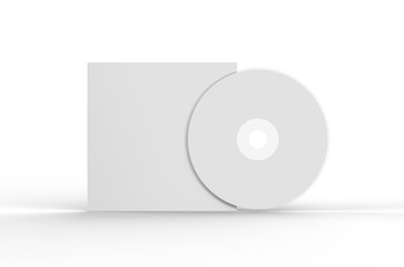 Blank white compact disk with cover, mock up template on isolated white background, 3d illustration