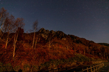 Photo sur Aluminium Marron 月光に照らされた紅葉の瑞牆山星空