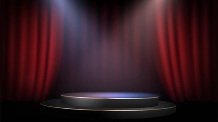 Empty scene with a red curtain and spotlights. Concert, show, performance