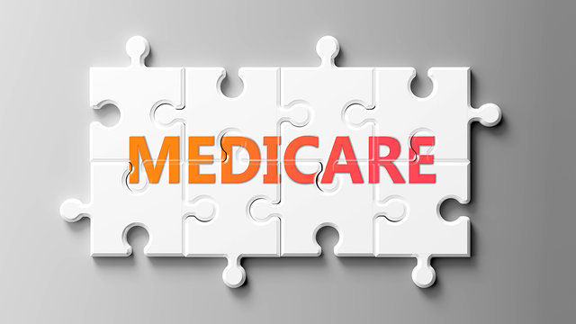 Medicare complex like a puzzle - pictured as word Medicare on a puzzle pieces to show that Medicare can be difficult and needs cooperating pieces that fit together, 3d illustration