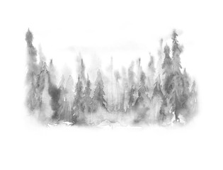 Watercolor picture of mountains, rocks, peaks. Coniferous forest, pine, spruce, fir, cedar. Black silhouettes. Abstract vintage spots of black, white. Postcard, logo, poster. Splash of paint. abstract
