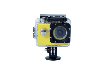 Yellow action camera cam isolated on white background