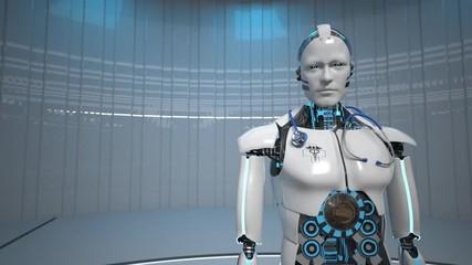 Fototapete - Humanoid Robot Medical Assistant Smarthone 4k Video
