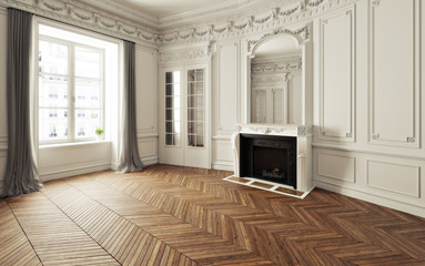 Empty room of an elegant residence with fireplace ,white trim Victorian accent interior space and herringbone wood flooring. Photo realistic 3d illustration. 3d rendering