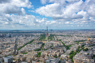 Wall Mural - Aerial scenic view of Paris with the Eiffel tower, France and Europe city travel concept