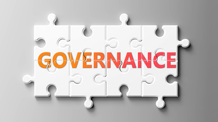 Governance complex like a puzzle - pictured as word Governance on a puzzle pieces to show that Governance can be difficult and needs cooperating pieces that fit together, 3d illustration