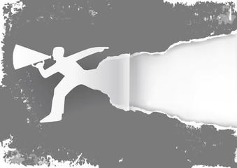 Man with megaphone ripping grunge style grey paper background. Illustration of expressive grunge background. Suitable for original flyer or banner. Vector available.