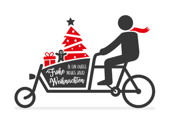 Frohe Weihnachten und ein gutes neues Jahr- deutsch - Grußkarte mit Weihnachtsbaum, Geschenken