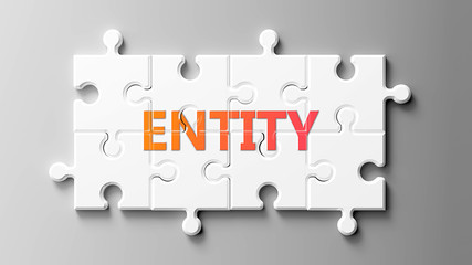 Entity complex like a puzzle - pictured as word Entity on a puzzle pieces to show that Entity can be difficult and needs cooperating pieces that fit together, 3d illustration