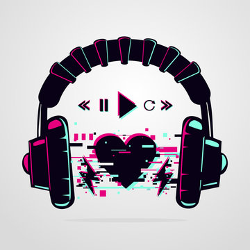Stereo headphones with glitch effect. Music electronic devise. Vector icon. Night party background.