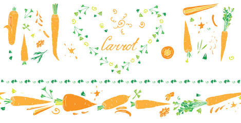 Isolated on white set of vector elements: horisontal seamless border brush with carrots, lettering, carrot tops and other elements