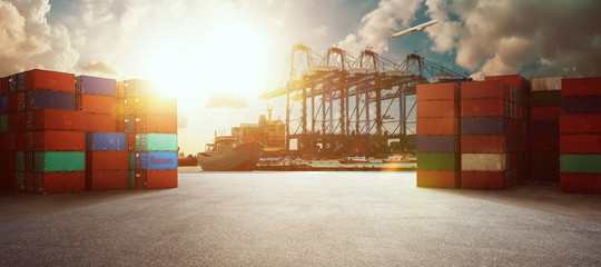 Transport industry of container cargo freight ship in shipyard port Wall mural
