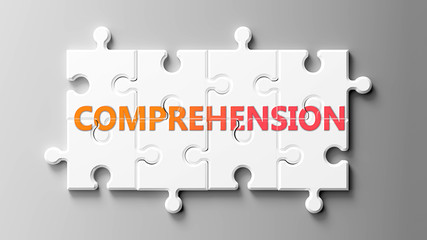 Comprehension complex like a puzzle - pictured as word Comprehension on a puzzle pieces to show that Comprehension can be difficult and needs cooperating pieces that fit together, 3d illustration