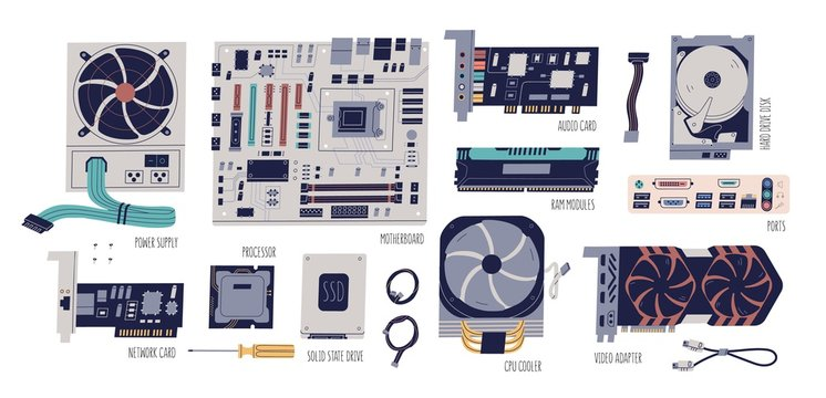 Computer hardware colorful flat vector illustrations set. Motherboard, network, audio and video card, processor, adapter. Processor cooler, power supply, ports and cables collection.
