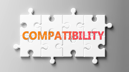 Compatibility complex like a puzzle - pictured as word Compatibility on a puzzle pieces to show that Compatibility can be difficult and needs cooperating pieces that fit together, 3d illustration