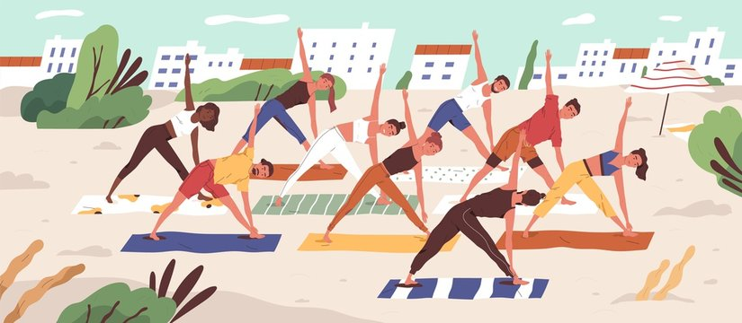 Beach yoga class flat vector illustration. People in sportswear doing yoga asanas on sandy beach. Healthy lifestyle, active recreation outdoors. Open air workout, physical exercising.