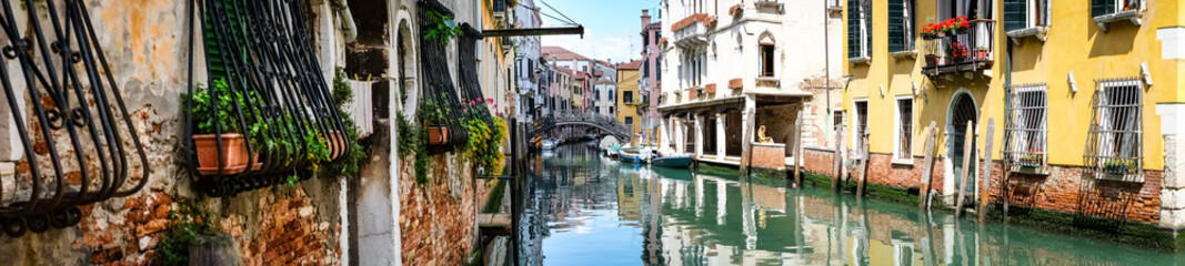 Panoramic view of Grand Canal in Venice Italy