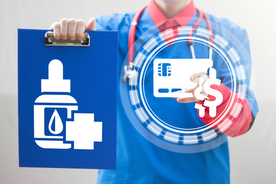 Physician represents blue clipboard with medical drop bottle icon and pushing credit card dollars button on virtual screen. Pharmacy medicine drops. Drugstore.