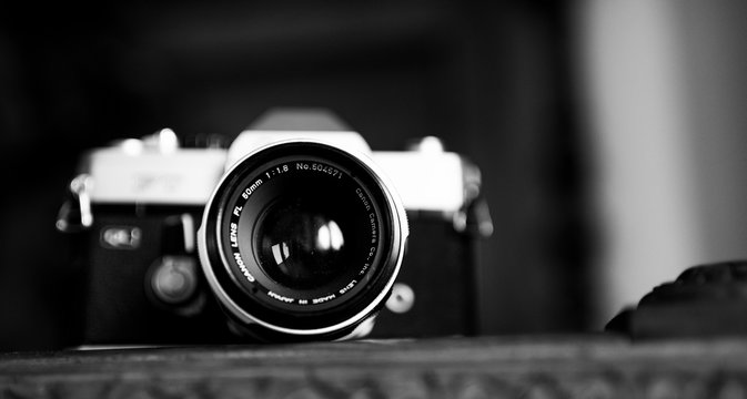portrait of an vintage film camera from the 1960s in black and white