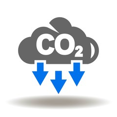 Cloud CO2 Pollution Icon Vector. Carbone dioxide emissions logo.