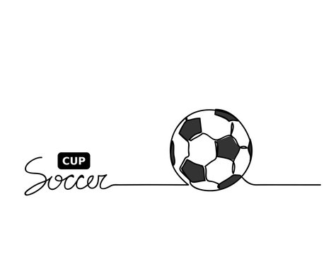 Soccer cup lettering. Football ball closeup. Hand drawn continuous line minimal illustration.