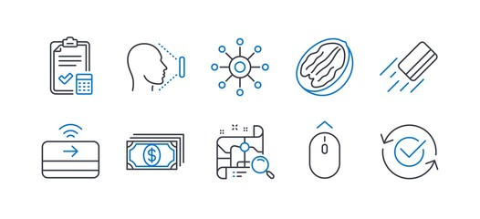 Set of Business icons, such as Search map, Credit card, Face id, Swipe up, Pecan nut, Accounting checklist, Multichannel, Contactless payment, Payment, Approved line icons. Vector