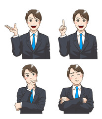 A set of facial expressions of a young businessman