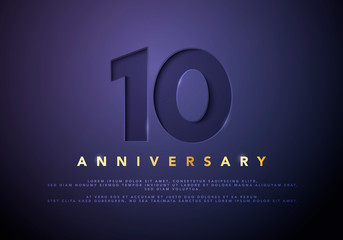Vector illustration celebrating 10th anniversary logo, with golden letters on dark luxury background.
