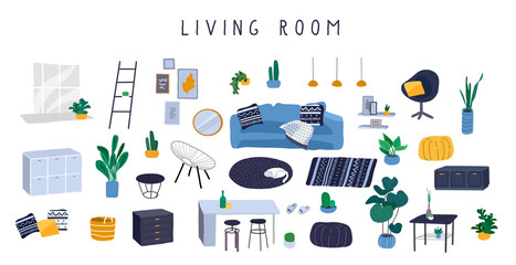 Stylish comfy furniture and modern home decorations set in trendy Scandinavian or hygge style. Cozy Interior living rooms or apartments furnished home plants. Flat cartoon vector