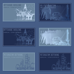 Oil and gas industry rectangular banner template set. visit cards template set. EPS10 vector illustration.