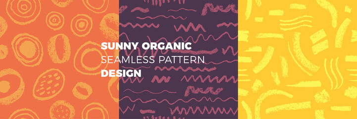 Organic seamless pattern vector background. Hand drawn natural elements with bright organic texture. Eco friendly design, label cosmetics, healthy food, mental health concept. Organic branding design.