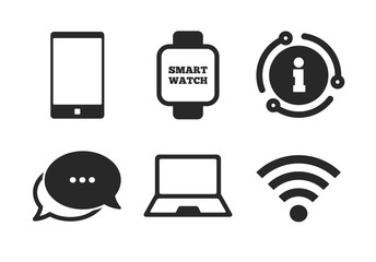 Smart watch symbol. Chat, info sign. Notebook and smartphone icons. Wi-fi sign. Wireless Network symbol. Mobile devices. Classic style speech bubble icon. Vector Wall mural