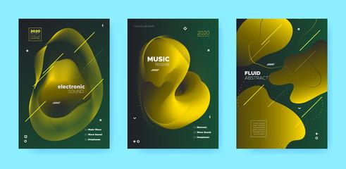 Gradient Flow Shapes. Disco Club Party Flyer.