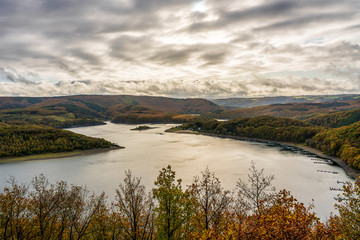 Panoramic view on Rur lake in the Eifel National Park, Germany