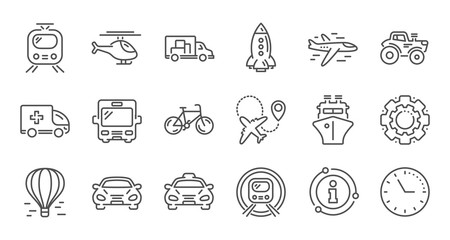 Transport line icons. Taxi, Helicopter and Train. Airplane linear icon set. Quality line set. Vector Fototapete