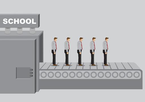 Machine Titled School Produces Homogeneous Product Cartoon Vector Illustraiton