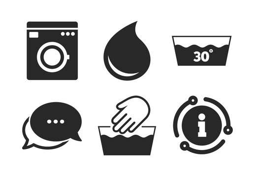 Machine washable at 30 degrees symbols. Chat, info sign. Hand wash icon. Laundry washhouse and water drop signs. Classic style speech bubble icon. Vector