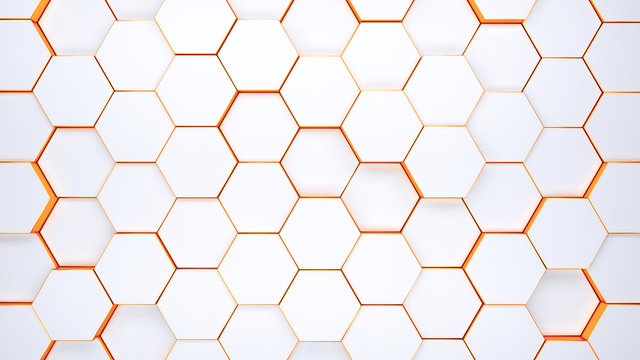 Modern hexagonal background texture pattern. Honeycombs at different level. 3d rendering illustration. Futuristic banner.