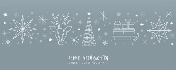Weihnachtsgruss silberner Hintergrund - Sterne, Weihnachtsbaum, Rentier und Geschenke auf Schlitten - deutsch